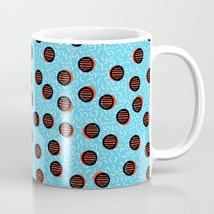 Swish - abstract retro throwback 1980s neon basketball sports college dorm pattern print bright fun Coffee Mug