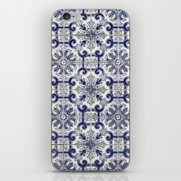Portuguese tiles pattern blue iPhone Skin
