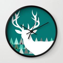 Deer Head Geometric Triangles | teal turquoise Wall Clock