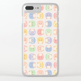 Fluffy owl seamless vector pattern with retro color palette Clear iPhone Case