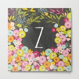 Z botanical monogram. Letter initial with colorful flowers on a chalkboard background Metal Print