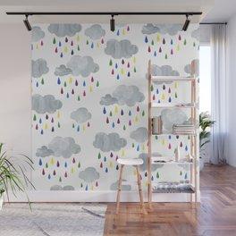Rainbow Rain Clouds Wall Mural