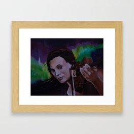 The violinist of the Northern Lights Framed Art Print