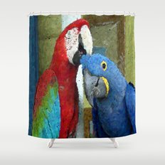 Red and Blue Macaws Tapestry Print Shower Curtain