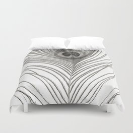 Black and White Peacock Feather Duvet Cover