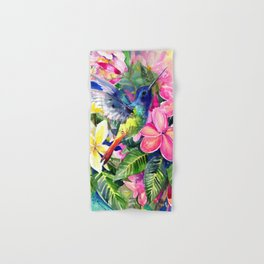 Hummingbird and Plumeria Florwers Tropical bright colored foliage floral Hawaiian Flowers Hand & Bath Towel