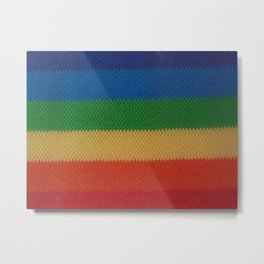 Rainbow Weaved Stripes Metal Print