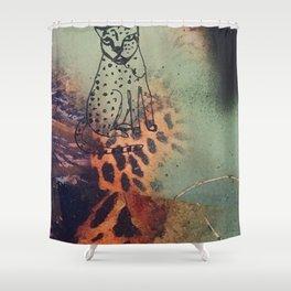 charismatic leopard Illustration Shower Curtain