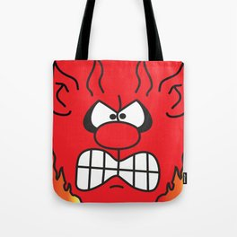 Red Cartoon Devil Face Tote Bag