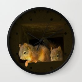 Young squirrels peering out of a nest #decor #buyart #society6 Wall Clock