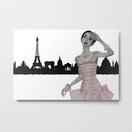 Fashion Illustration Alexa paris pink gown  Metal Print