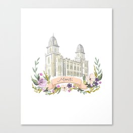 LDS Manti watercolor Temple with flower wreath  Canvas Print