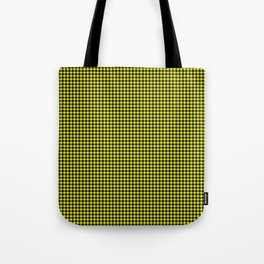 Bright Cats Eye Yellow and Black Hell Hounds Tooth Check Tote Bag