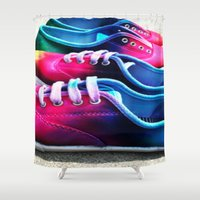 sneakers Shower Curtains featuring sneakers by NatalieBoBatalie