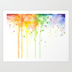 Watercolor Rainbow Splatters Abstract Texture Art Print