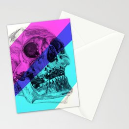 Skull pencil drawing with colour Stationery Cards