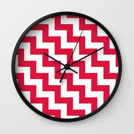 White and Crimson Red Steps LTR Wall Clock