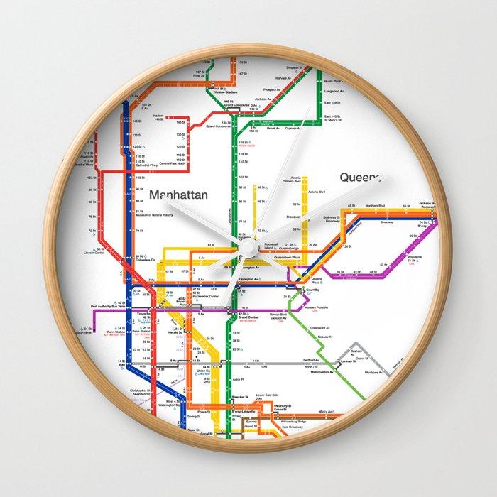 Queen Subway Map Nyc.New York City Subway Map Wall Clock By Igorsin
