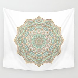 Mystic mandala - blue and gold Wall Tapestry