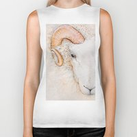 sheep Biker Tanks featuring sheep by Bárbara  Kramer