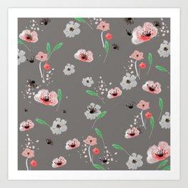 Watercolor Garden Grey Art Print