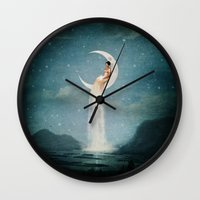 river Wall Clocks featuring Moon River Lady by Paula Belle Flores