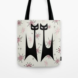 MID-CENTURY ATOMIC PINK CATS Tote Bag