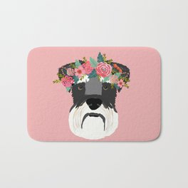 Schnauzer floral crown dog breed pet art schnauzers cute pure breed gifts Bath Mat