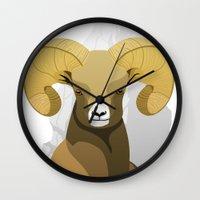 ram Wall Clocks featuring Ram by Porto881