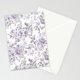 FLORAL VINTAGE ROSES MAUVE WHITE Stationery Cards