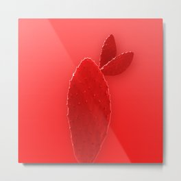 Red rabbit ears cactus Metal Print