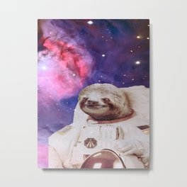 Astronaut Sloth in space Metal Print