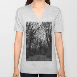 Monochromatic forest path Unisex V-Neck