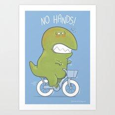 T-Rex tries biking Art Print