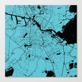 Amsterdam Turquoise on Black Street Map Canvas Print