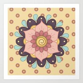Rain Flower Mandala on Calico Art Print