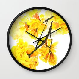 yellow trumpet trees watercolor yellow roble flowers yellow Tabebuia Wall Clock