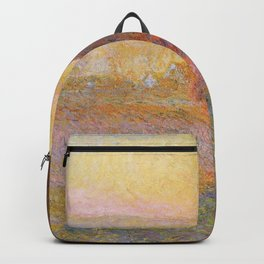 Haystacks, Sunset (1891) by Claude Monet Backpack