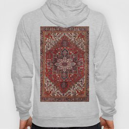 Persia Heriz 19th Century Authentic Colorful Blue Red Cream Vintage Patterns Hoody