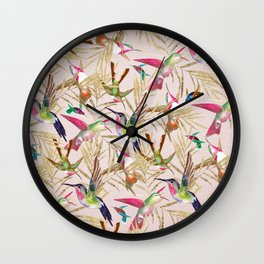 Colorful pink green hummingbird faux gold floral Wall Clock