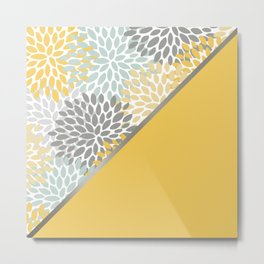 Floral, Color Blocks Art, Yellow, Aqua and Gray, Print Art Metal Print