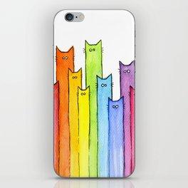 Nursery-Art-Print-Cat-Rainbow-Whimsical-Animals iPhone Skin