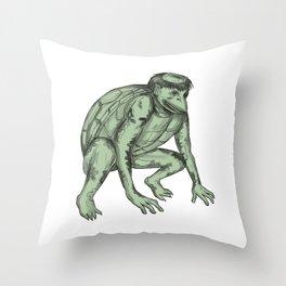 Kappa Monster Crouching Tattoo Throw Pillow