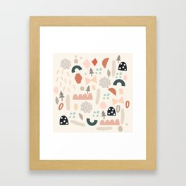 Party Shapes Forest Framed Art Print