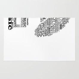 Typographic gramophone Rug