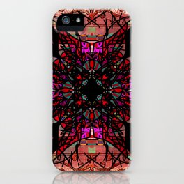 Ornate Red Pink and Gold Antique Mandala Rug iPhone Case