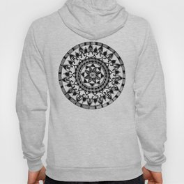Black and White Circular Hand-Drawn Mandala Hoody