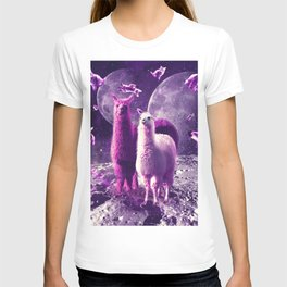 Outer Space Galaxy Cat With Llama T-shirt