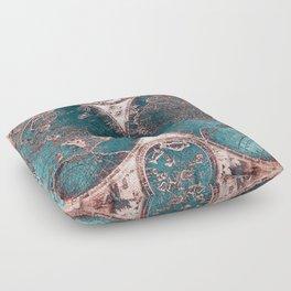 Antique World Map Pink Quartz Teal Blue by Nature Magick Floor Pillow