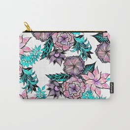 Girly Pink Teal Watercolor Floral Illustrated Pattern Carry-All Pouch